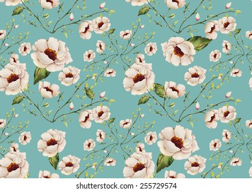 Watercolor white flowers pattern on a light blue background