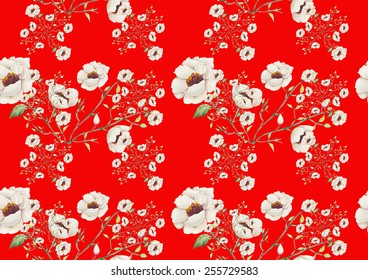 Watercolor white flowers pattern on a red background
