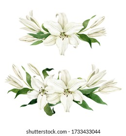 Watercolor white lilies two horizontal compositions isolated on white background. Hand drawn clipart for wedding invitations, birthday stationery, greeting cards, scrapbooking.