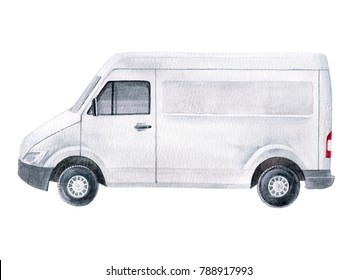 watercolor white van illustration isolated on white background