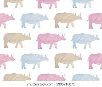 Watercolor wild animals of africa - rhinoceros. Hand drawn