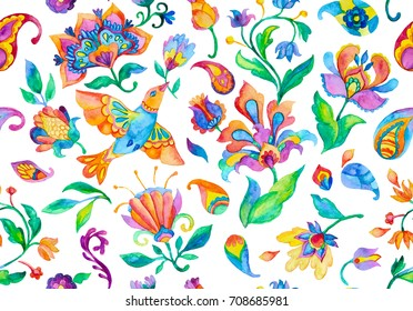 Watercolor wild rose, nightingale birds with leaves, paisley on flower wallpaper with humming bird for design. Freehand hand painted seamless watercolor pattern. Isolated objects on a white background