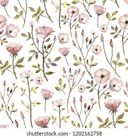 Watercolor wild roses seamless pattern. Hand painted illustrations for background, wallpapers and textile.