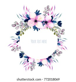 Watercolor wildflowers and branches frame in pink and blue shades, hand drawn isolated on a white background, Mother's day, birthday and other greeting cards