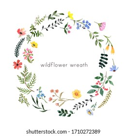 Watercolor wildflowers and herbs wreath with blank space for text. Hand drawn pink, yellow, blue meadow flowers and greenery. Botanical frame for design. Summer illustration