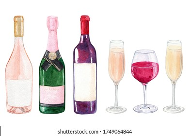 watercolor wine bottles and glasses set isolated on white background for winery, cafe menu, restaurant posters and logo design