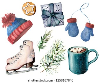 Watercolor winter active sport set. Hand painted white skates, cacao cup with marshmallow, knitted hat and mittens, giftbox, fir branch and  cookie isolated on white background. Holiday illustrations