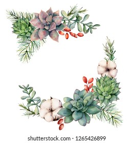 Watercolor winter bouquet with succulents, tree branch, berries and eucalyptus. Hand painted cacti, cotton flowers, eucalyptus leaves and branches isolated on white background. Botanical illustration