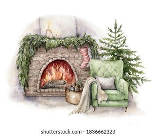 Watercolor winter card with fireplace, armchair and christmas tree. Hand painted holiday illustration with interior objects isolated on white background for design, print, fabric or background.