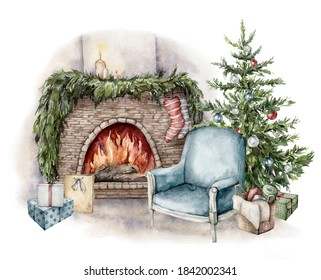 Watercolor winter card with fireplace, armchair, gift boxes and christmas tree. Hand painted holiday illustration with interior objects isolated on white background for design, print or background.