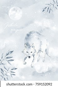 Watercolor winter card illustration with wolf, moon and snow. White magic
