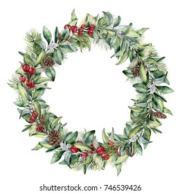 Watercolor winter floral wreath. Hand painted snowberry and fir branches, red berries with leaves, pine cone isolated on white background. Christmas illustration for design, print, textile