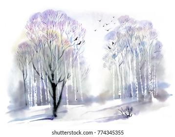 Watercolor winter forest landscape hand drawn illustration