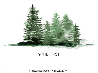 Watercolor winter green forest. Hand painted foggy fir trees illustration isolated on white background. Holiday clip art for design, print, fabric or background. Christmas card.