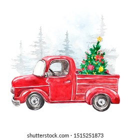 Watercolor winter illustration with hand painted Christmas red car and festive fir tree. Holiday artistic background for cards design. Snowy forest and vintage pickup truck in cartoon style.