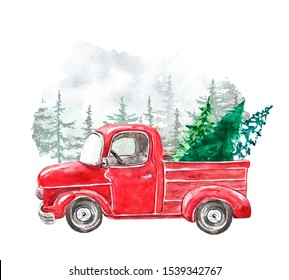 Watercolor winter illustration with hand painted Christmas red pickup truck and holiday fir trees. Holiday artistic background for cards design. Snowy forest and vintage car in cartoon style.