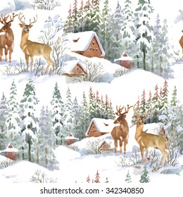 Watercolor winter landscape with deers, seamless pattern