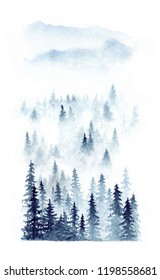 Watercolor winter landscape of a forest in fog. Spruces isolated on white background