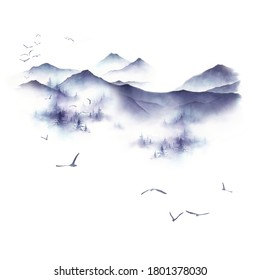 Watercolor winter landscape with mountain, fir trees and birds