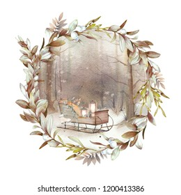 Watercolor winter landscape: snowy forest scene with sleigh and glowy lamps. Hand painted vintage round vignette with floral wreath.