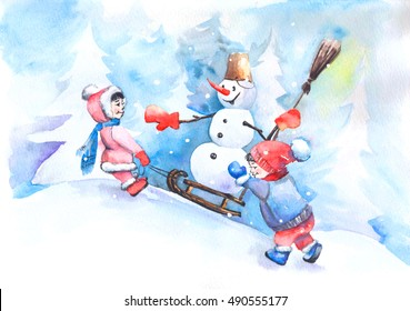 Watercolor winter painting. Hand drawn snowman and children. Illustration for holiday design: Merry Christmas and Happy New Year.