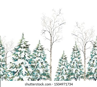 Watercolor winter trees seamless pattern. Holiday repeating border design with snow covered christmas trees, birch on white background.