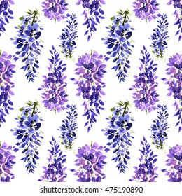 Watercolor wisteria flower seamless pattern. Drawn nature painting art.