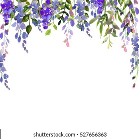 Watercolor wisteria purple  flowers  leaves berries backdrop  photo frame border arch isolated on white background.
