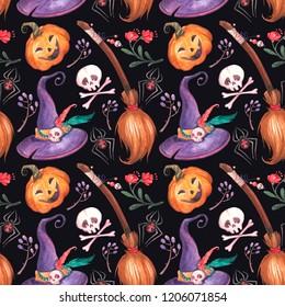 Watercolor Witch craft seamless pattern on dark background. Halloween pumpkin, bones,spiders, hat, broom,  candies, flowers and leaves