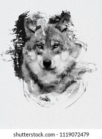 Watercolor wolf isolated on white background