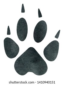Watercolor Wolf Track Illustration, Wolf Track Clipart