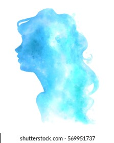 Watercolor woman blue silhouette. Digital art illustration. Isolated female with curly hairstyle on white background.
