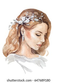 Watercolor woman face. Bridal jewelry pearls hairpiece and earring wedding hairstyle.  Hand drawn blonde bride profile face raster illustration. Ideal for hair accessories or wedding headpieces logo