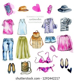 Watercolor women clothing illustration collection, hand painted on a white background