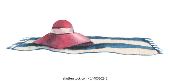 Watercolor women's beach hat on a blue and white striped towel on a white background. For design compositions on the theme of summer holidays, vacations, holidays on the ocean, sea or near the pool.