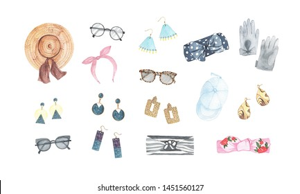 Watercolor womens fashion accessories earrings hat cap glasses headwear gloves isolated on white background. Wardrobe spring summer illustration