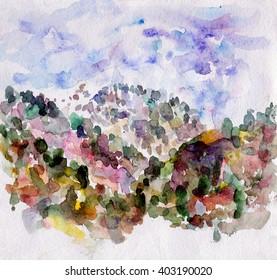 watercolor wood mountain himalayan sky landscape