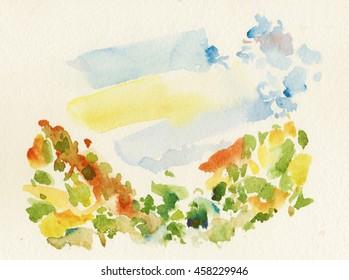 watercolor watercolor wood mountain himalayan sky landscape