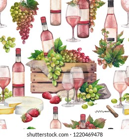 Watercolor wooden box of bottle and red white grapes, rose wine glasses, cheese and strawberries. Kitchen still life. Hand painted seamless pattern