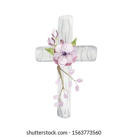 Watercolor wooden cross. Hand drawn elements for christening invitations, christmas, easter and more. Hand drawn religious object with floral object