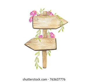 Watercolor wooden signpost with green branch and pink peonies. For your design