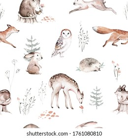 Watercolor Woodland animals seamless pattern. Fabric wallpaper background with Owl, hedgehog, fox and butterfly, Bunny rabbit set of forest squirrel and chipmunk, bear and bird baby animal Nursery