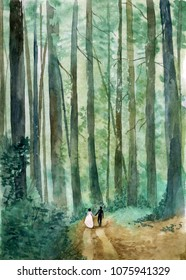 Watercolor woodland landscape with a pair of bride and groom walking along the forest road. Wedding template for invitation or menu with a place for your text. Perfect for forest themed weddings.