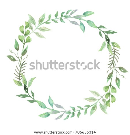 c33a58706159 Royalty Free Stock Illustration of Watercolor Woodland Wreath Leaf ...