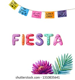 "Watercolor word-""fiesta"" with palm leaf,lilac astra and colorful banner.Fiesta party."