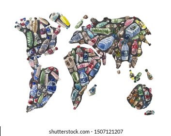Watercolor world map collected from empty discarded plastic bottles. Image on the theme of environmental pollution; environmental issues; climate change on the planet; plastic recycling.