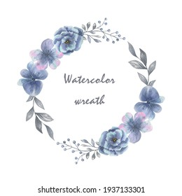 Watercolor wreath of blue flowers. For invitation or greeting cards.