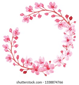 Watercolor wreath with branch of delicate pink blooming flowers, bud and leaves isolated on white background. branch of cherry blossoms. Botanical illustration perfect for design greetings, prints,