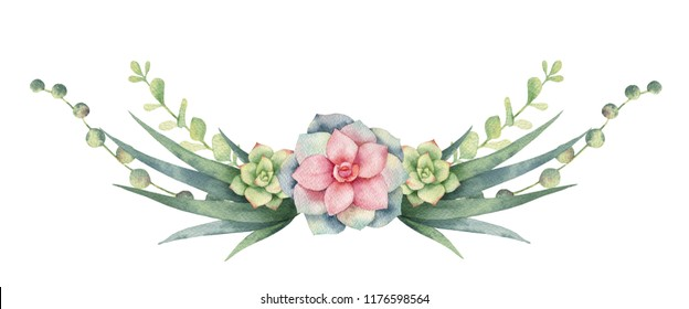 Watercolor wreath of cacti and succulent plants isolated on white background. Flower illustration for your projects, greeting cards and invitations.