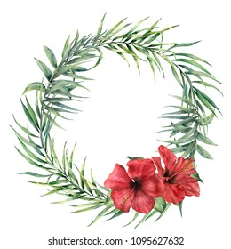 Watercolor wreath with coconut, eucalyptus palm branch and hibiscus. Hand painted floral illustration with palm leaves and flowers isolated on white background. For design, print, fabric, background